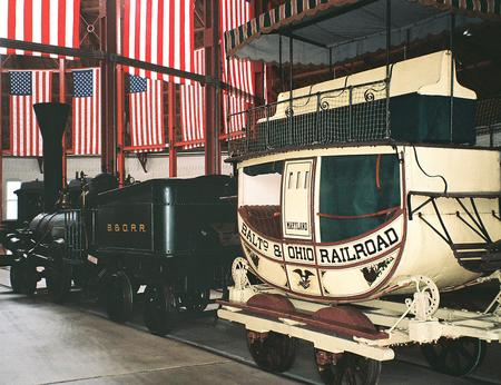 Early Baltimore and Ohio Railroad passenger equipment of the 1830s, displayed at the B&O Railroad Museum.