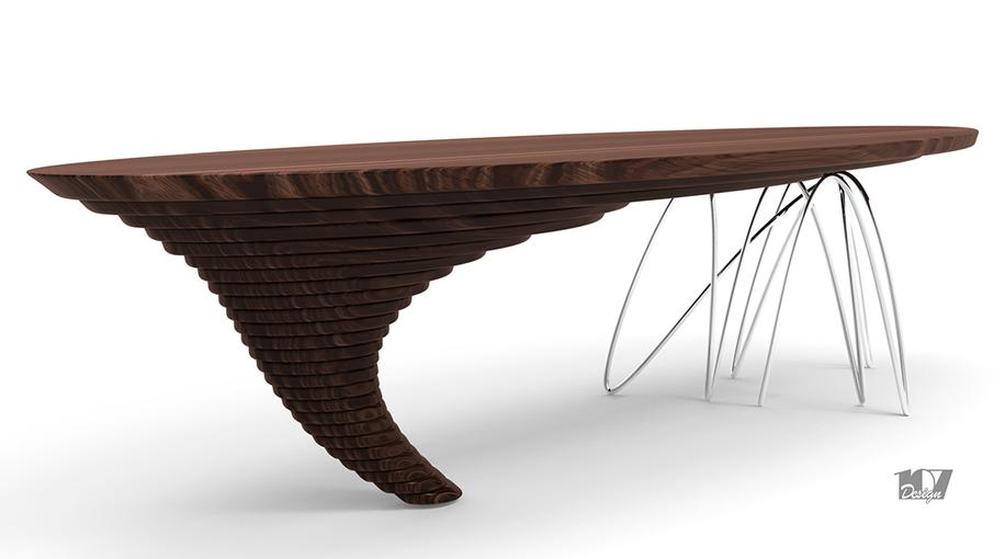 TMW TAVOLO IN LEGNO MASSELLO E ACCIAIO WOOD METAL TABLE LIVING INTERIORDESIGN MODELLAZIONE 3D MODEL PROJECT DESIGN107