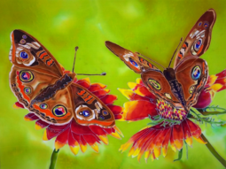 Silk Painting, Common Buckeye Butterflies, Tracy Harris Artist, 30 x 40