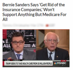 Bernie Sanders Says 'Get Rid of the Insurance Companies,' Won't Support Anything But Medicare For All