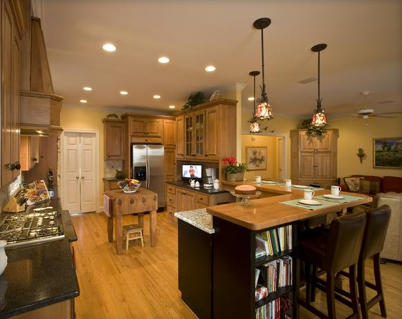 Farmhouse kitchen with wood and granite countertops