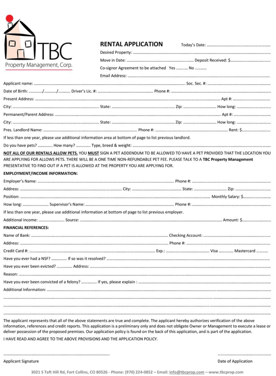 Tbc Property Management Corp  - Lease Forms For Rental Property