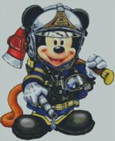 Cross Stitch Chart of Firefighter Mickey Mouse