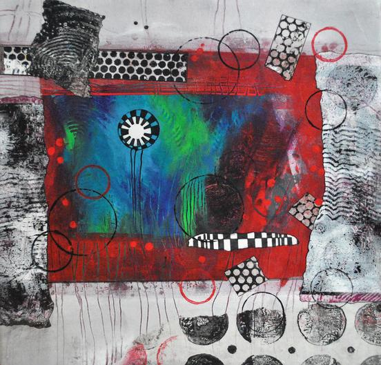 mixed media, collage, kate browning word, acrylic painting, black, white, red, blue, green, circles