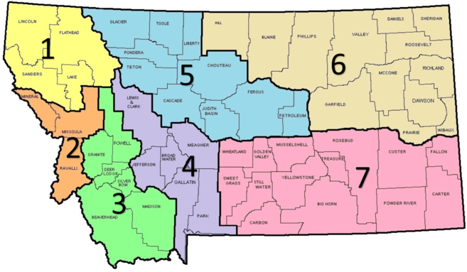 Map of Montana with regions numbered.