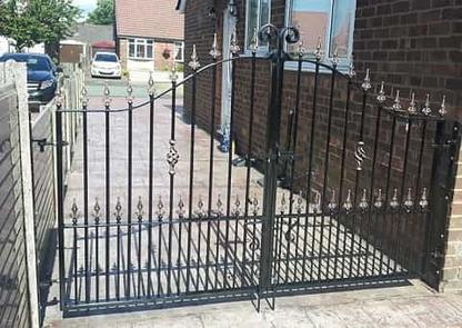 Ornamental double gates on driveway