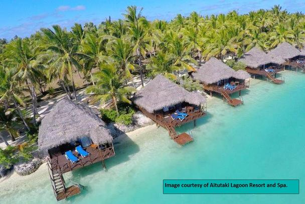 birds eye view of Aitutaki over water bungalows in the Cook Islands