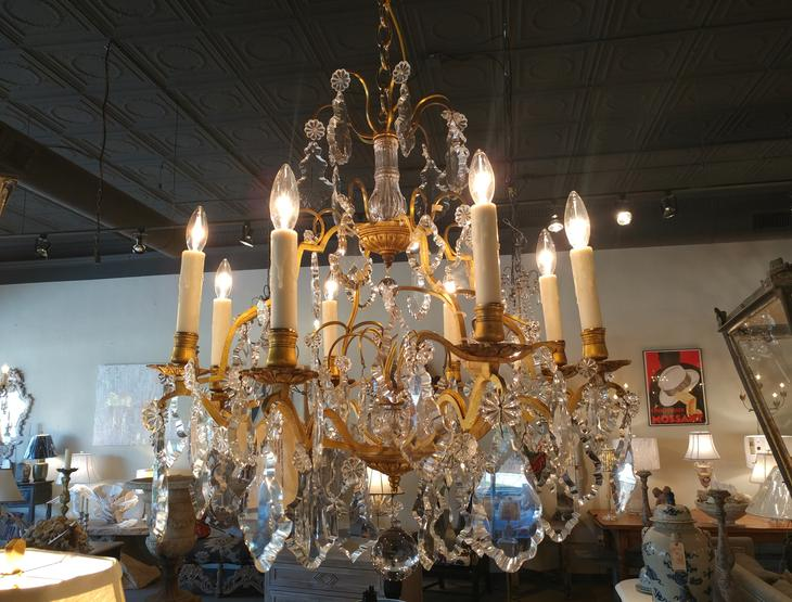 Antique French Crystal Chandelier 8 arm light fixture for sale from The House of Tuscany