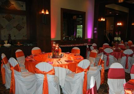 orange satin table