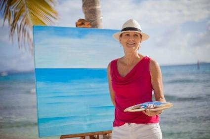 Savanna Redman - painting at the beach