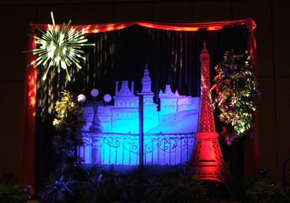 Paris Theme Event Decor at a Company Party - Paris Street Scene with Eiffel Tower