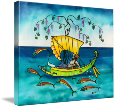 Dionysus Sailing with Dolphins, silk painting by Savanna Redman - shown as a stretched canvas Giclee