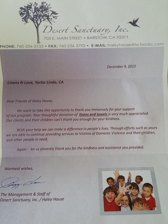 Thank you letter linens n love expocarfo Image collections