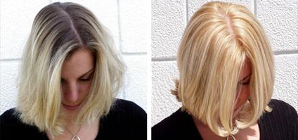 before and after hair color one process blonde with highlights