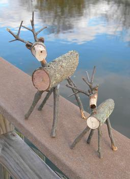 diy wood branch reindeer christmas decoration - Wooden Deer Christmas Decorations
