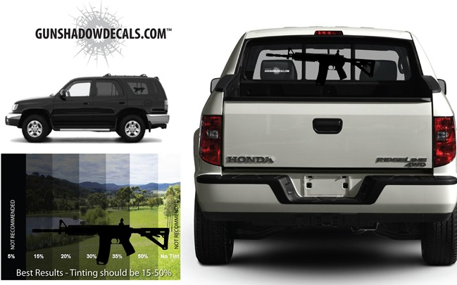 Truck Or SUV Gun Stickers That Simulate A Firearm - Rear window decals for vehicles