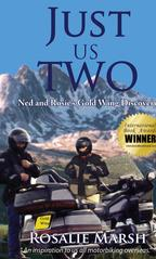 Image of Jacket front of Just Us Two. Ned and Rosie with their GoldWing motorbike and Andorran mountains