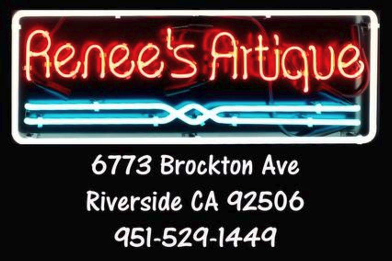 Neon Sign for Renee's Artique with address and Phone Art and Gift store