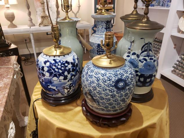 chinese blue and white table lamps porcelain 6 pairs of
