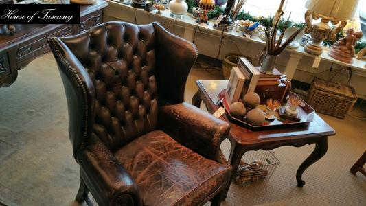 antique vintage wingback leather english arm chair old world classic