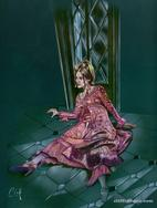 Nancy Barrett as Carolyn Stoddard in HOUSE OF DARK SHADOWS acrylic on board by CLIFF CARSON