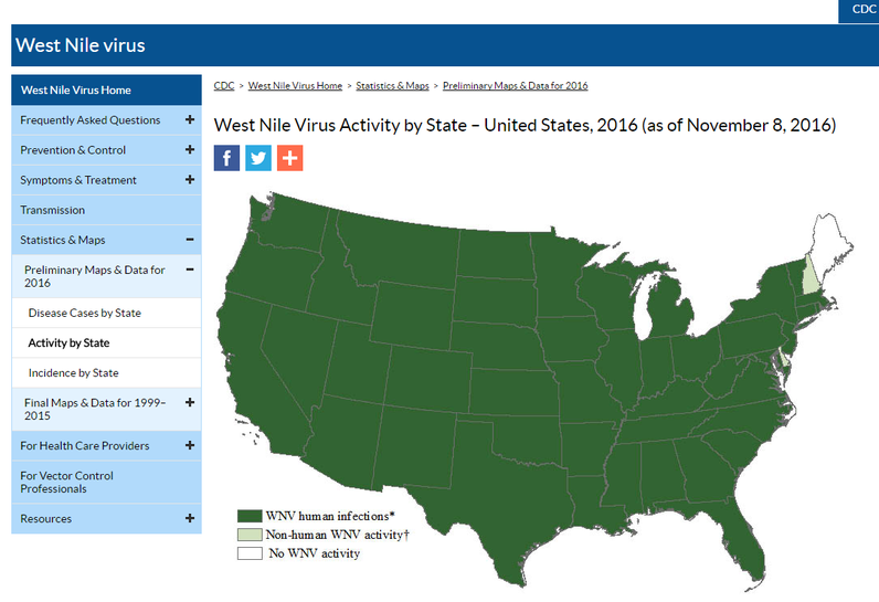 CDC West NIle Activity Map for Texas