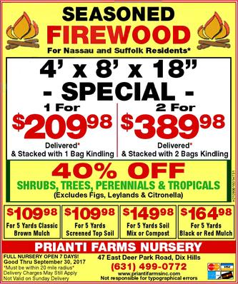 Prianti Bulk Firewood Seasoned Long Island Delivery Special Sale