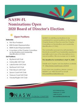 2020 NASW-FL Board of Directors Nomination Flyer