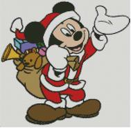 Cross Stitch Chart Mickey Mouse as Santa Claus