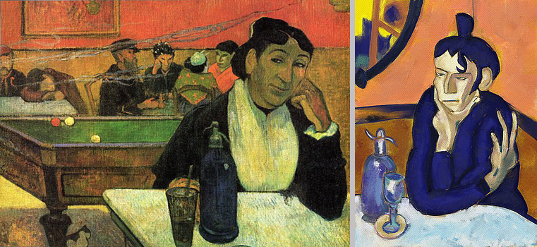 """At the café"" by Paul Gauguin & ""The Absinthe Drinker"" by Pablo Picasso"