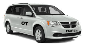 Orlando Taxi Service with clean white mini van
