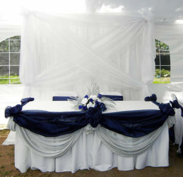 elegant navy blue and silver main table