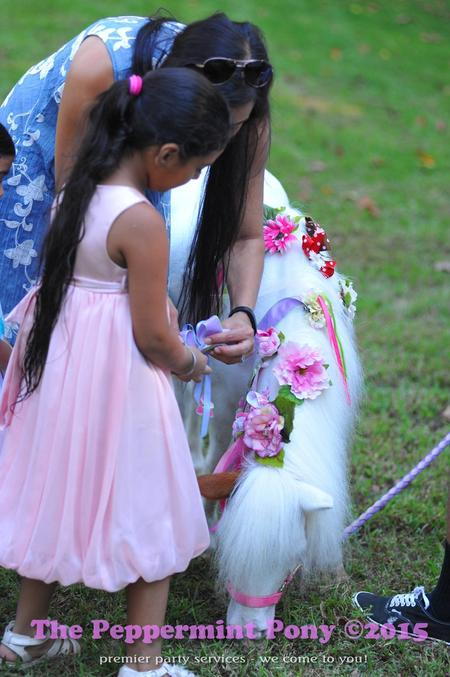 mother and child decorating Lily the MIni horse with bows