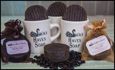 Swan Haven Soap near Petaluma CA makes all natural hand-crafted soaps and bath products including Cup 'O Joe and Mocha Joe Soap for Petaluma Coffee and Tea Company