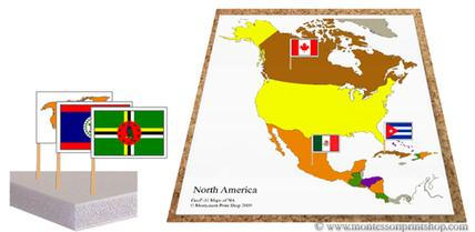 printable Montessori pin map and flags
