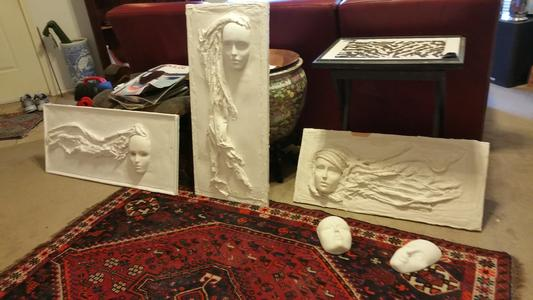 Plaster of Paris Relief women muses faces hand carved sculptures hanging wall art by artist Jamey Alexander