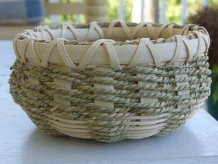 A small woven basket.