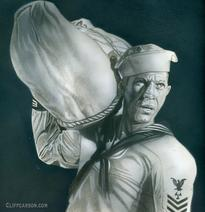 THE SAND PEBBLES acrylic and pencil on board by CLIFF CARSON