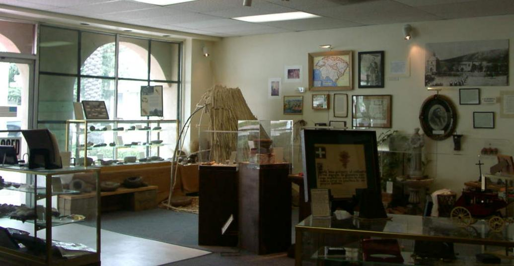 Photo of the interior of the Ramona Museum featuring artifacts from early California History