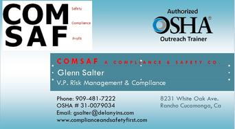 COMSAF, compliance and safety first, complianceandsafetyfirst.com, safety website, safety consulting, Compliance and Safety First, compliance near me, safety near me, safety first near me, value added programs, loss control, claims oversight, claims management, OSHA Certified Outreach Trainer for General Industry, OSHA Outreach Trainer, OSHA Certified Trainer, OSHA Certified, OSHA Trainer