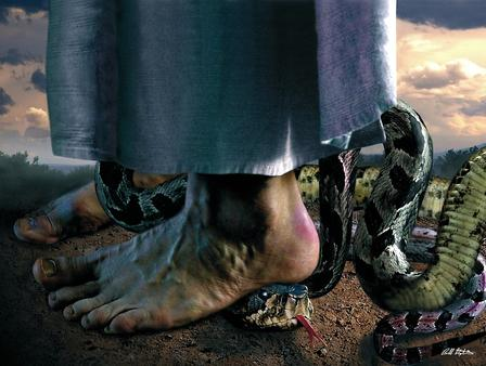 Image result for jesus crushing serpent