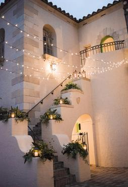 Powel Crosley wedding staircase decor by Sarasota Wedding Gallery