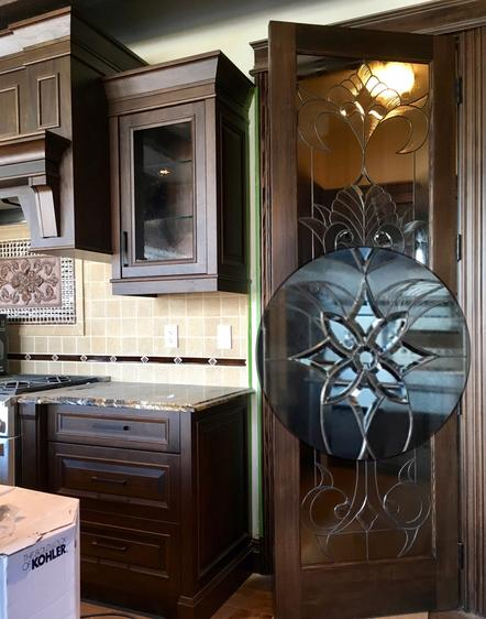 custom pantry door, art glass, stained glass, overlay, bevels