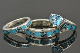 Turquoise Engagement Ring and Wedding Ring Set in Sterling Silver by Hileman.