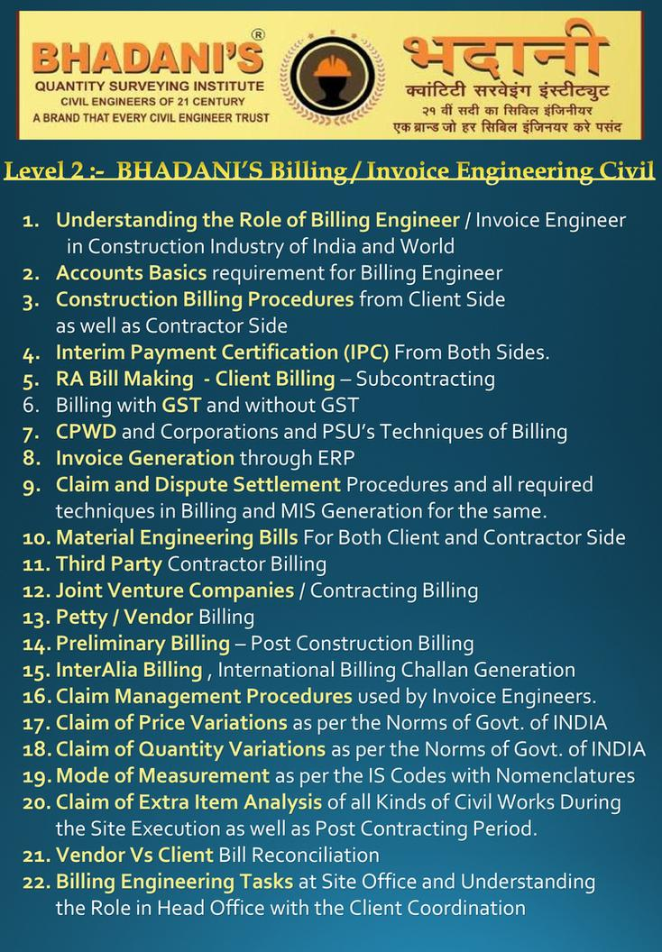 bhadanis level 2 billing engineering training course