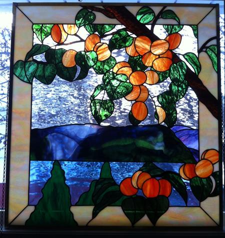 stained glass, calgary ab, custom art glass, apricot tree