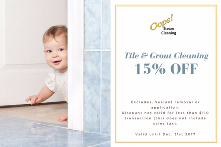 tile and grout cleaning coupon for a 15 percent discount on ceramic tile floors or porcelain tile floors, coupon linked to tile and grout cleaning page
