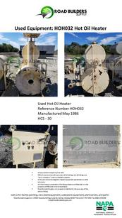 HCS-30 Hot Oil Heater for Asphalt Plants. Manufactured in 1986