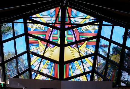 Solar Graphics window film art church printed film as alternative to stained glass picture image