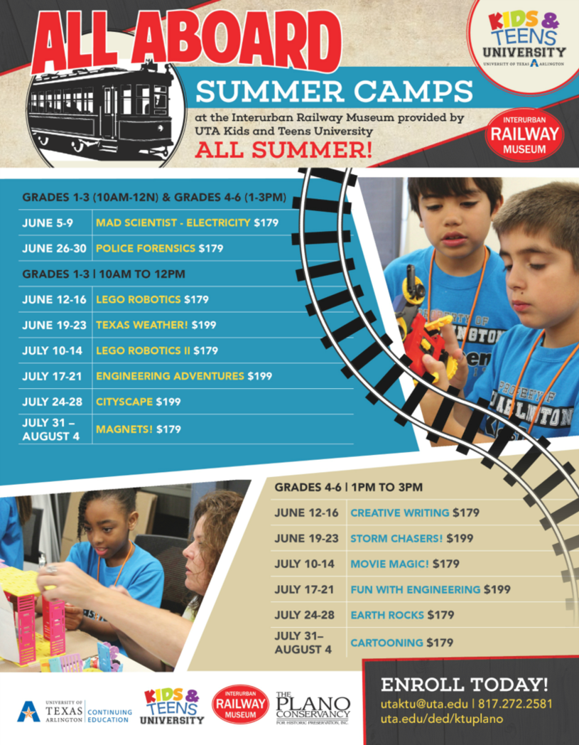flier listing summer camp classes